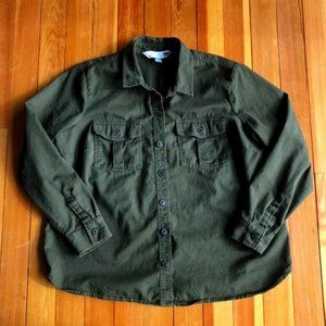 Old Navy Army Green Long Sleeve Button Front XL